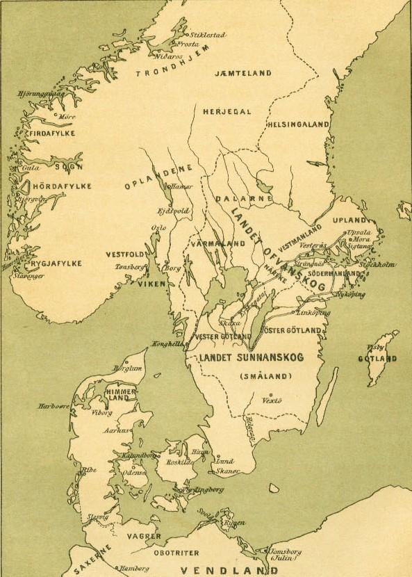 Adoption Of Christianity In Denmark - Sweden map hedestad